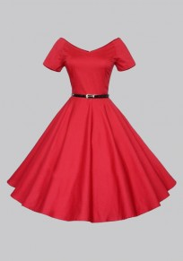 Red Belt V-neck Short Sleeve Vintage Tutu Party Maxi Dress