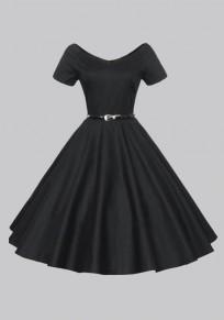 Black Belt V-neck Short Sleeve Vintage Tutu Party Maxi Dress