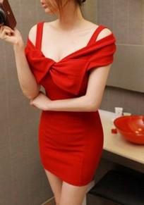 Mini abito farfallino tagliato scollo profondo manica corta rosso