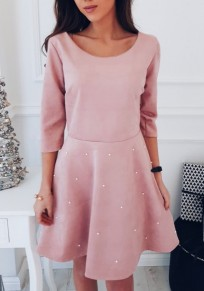 Pink Beading Round Neck Cute Homecoming Party Mini Dress