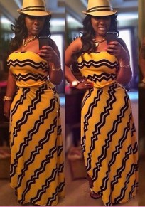 Yellow Striped Irregular Off Shoulder Backless Bohemian Flowy Las Vegas Party Maxi Dress