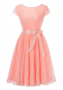 Pink Lace Pleated Bow Round Neck Vintage Party Midi Dress