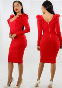 Rot Rüschen Rückenfrei Bodycon Elegantes Bankett Partei Midi Kleid