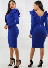 Blau Rüschen Rückenfrei Bodycon Elegantes Bankett Partei Midi Kleid