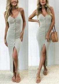 Mini robe bretelle poitrine v-col gris