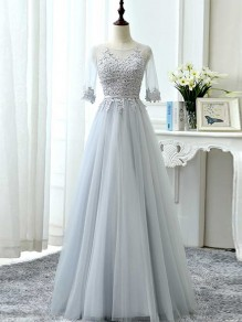 Light Grey Patchwork Grenadine Draped Sweet Prom Evening Party Maxi Dress