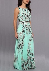 Sky Blue Floral Pleated Belt Bohemian Sleeveless Prom Evening Party Beach Maxi Dress