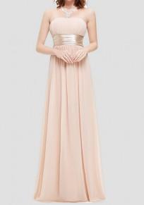 Robe longue en mousseline bustier drapé élégant de soirée rose