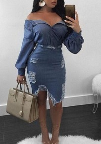 Dark Blue Irregular Off Shoulder Backless Two Piece Going out Midi Dress