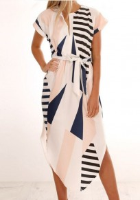 White Color Block Geometric Pattern Irregular Sashes High Waisted Casual Maxi Dress