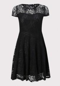 Schwarz Flickwerk Spitze Transparente Drapierte Rundhals Minikleid Festliche Kleid Ballkleid