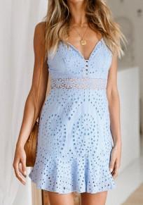 Mini vestido corte correa de espagueti plisada sin respaldo profundo v-cuello dulce azul claro