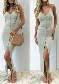 Grey Irregular Buttons V-neck Sleeveless Maxi Dress