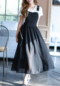 Black Draped Shoulder-Strap Square Neck Sleeveless Ladies Elegant Suspender Dress