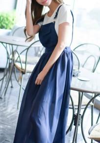 Dark Blue Draped Shoulder-Strap Square Neck Sleeveless Elegant Maxi Dress