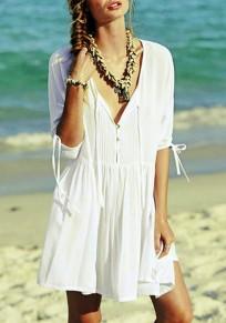 Mini vestido v-cuello drapeado manga corta playa bohemia blanco