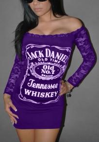 Purple Letter Lace Boat Neck Long Sleeve Mini Dress