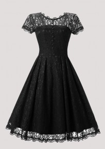 Black Patchwork Lace Pleated Buttons Round Neck Vintage Midi Dress