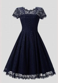 Blue Patchwork Lace Pleated Buttons Round Neck Vintage Midi Dress