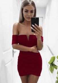 Wine Red Ruffle Irregular Zipper V-neck Short Sleeve Mini Dress