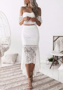 White Lace Swallowtail Mermaid Off Shoulder Backless Two Piece Party Maxi Dress