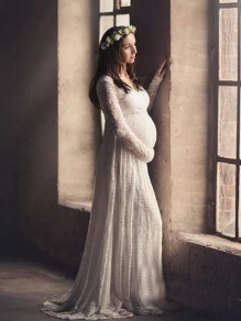 White Floral Lace Pleated Deep V-neck Maternity Photoshoot Elegant Maxi Dress