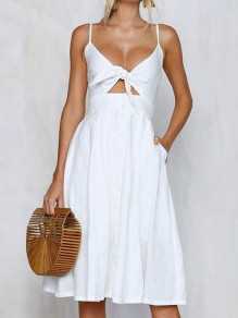 White Buttons Draped Pockets Spaghetti Strap Backless Deep V-neck Sweet Midi Dress