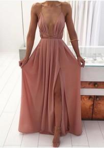Pink Draped Side Slit Lace-up Spaghetti Strap Backless Flowy Bohemian Party Maxi Dress