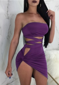 Purple Cut Out Irregular Lace-up Two Piece Off Shoulder Backless Clubwear Party Mini Dress