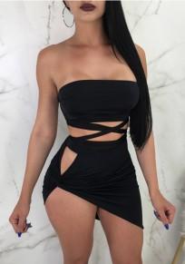 Mini dress découpesz irrégulière lacets dos nu pièces épaule dos nu clubwear party noir