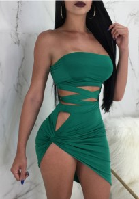 Green Cut Out Irregular Lace-up Two Piece Off Shoulder Backless Clubwear Party Mini Dress
