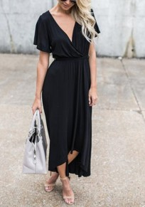 Black Sashes Draped Irregular High-low Deep V-neck Elegant Party Maxi Dress