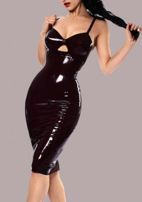 Black Spaghetti Strap Backless Bodycon Latex V-neck Clubwear Party Midi Dress