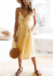 Yellow Spaghetti Strap Bow Backless Pleated Homecoming Party Beach Cute Midi Dress