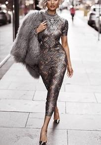 Robe longue en crochet col ronde manches courtes moulante luxueux mode argent