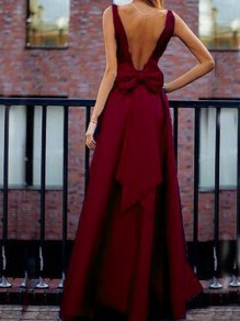 Burgundy Bow Pleated Backless V-neck High Waisted Elegant Banquet Party Maxi Dress