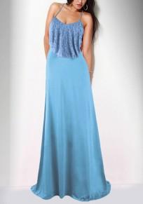 Robe maxi dentelle à manches volantéesspaghetti bracelet demoiselle d'honneur élégant parti de banquet bleu