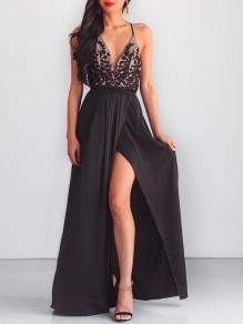 Black Draped Sashes Side Slit Lace-up Deep V-neck Elegant Party Maxi Dress
