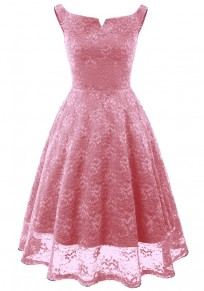 Pink Pleated Lace Tutu Off Shoulder Vintage Elegant Party Midi Dress