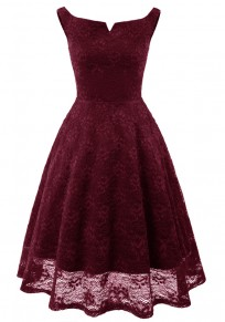 Burgundy Pleated Lace Tutu Off Shoulder Vintage Elegant Party Midi Dress
