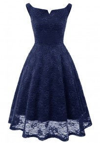 Navy Blue Pleated Lace Tutu Off Shoulder Vintage Elegant Party Midi Dress