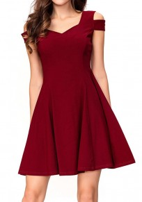 Burgundy Draped Cut Out Backless V-neck Elegant Party Mini Dress