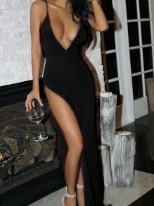 Black Backless Spaghetti Strap Thigh High Side Slits Deep V-neck Prom Elegant Beach Maxi Dress