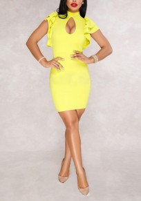 Yellow Cascading Ruffle Cut Out Bodycon Band Collar Party Mini Dress