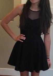 Black Draped Grenadine Round Neck Sleeveless Mini Dress