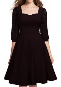 Black Patchwork Lace Draped Bodycon Banquet Elegant Party Midi Dress