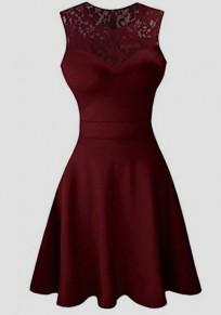 Burgundy Patchwork Lace Draped Round Neck Elegant Party Mini Dress