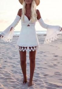 Mini abito scollo v-collo con v-collo A scollatura profonda con scollo A punta dolce bianco