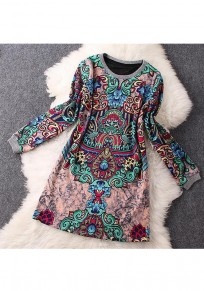 Pink Floral Print Round Neck Long Sleeve Vintage Mini Dress