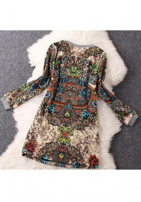 Apricot Floral Print Round Neck Long Sleeve Vintage Mini Dress